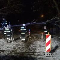 Zásah hasičského sboru v Zámeckém parku po ledovce 2.12.2014 v 05:40 hod.