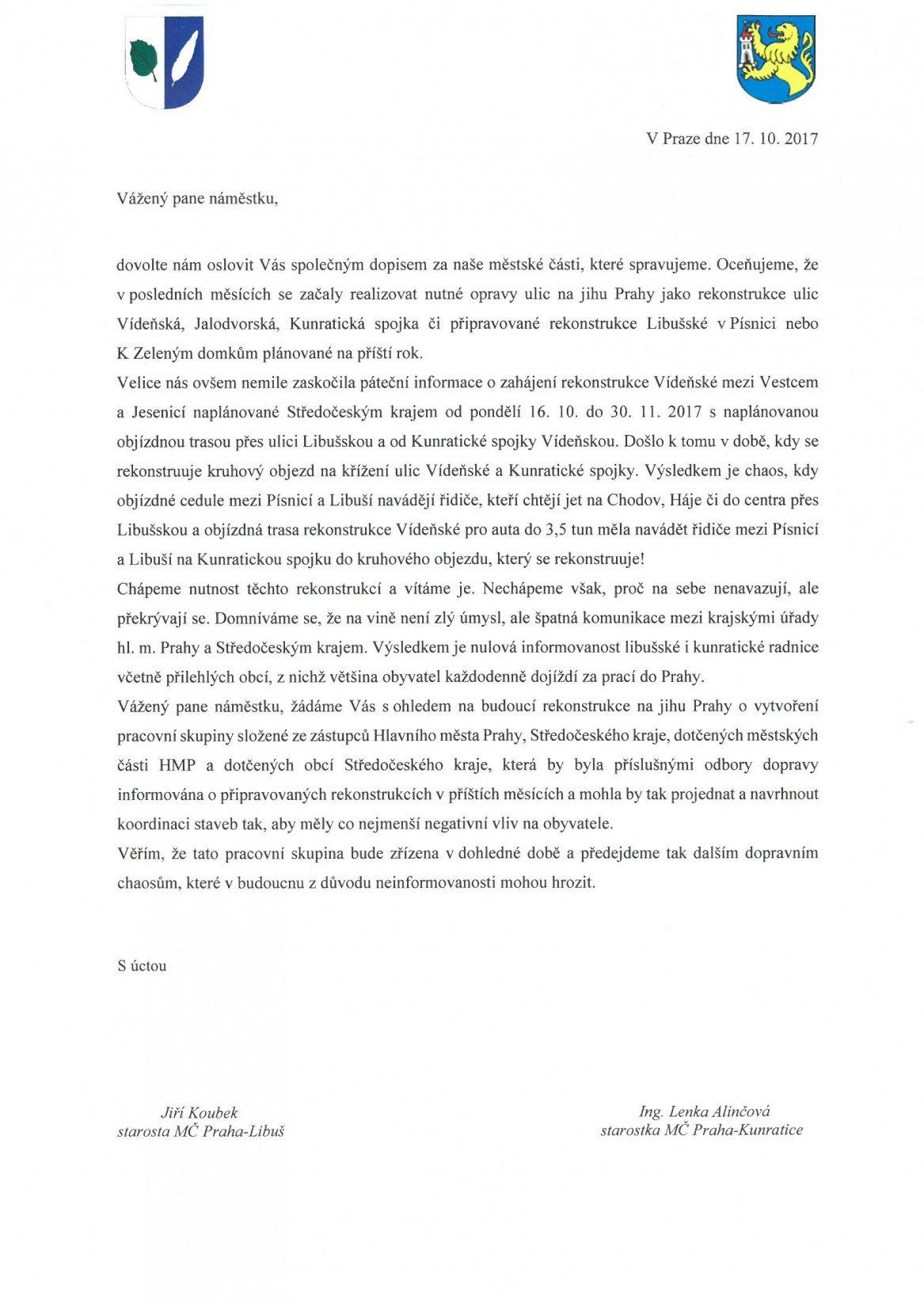 Dopis se žádostí o koordinaci staveb silnic v k.ú. Kunratice