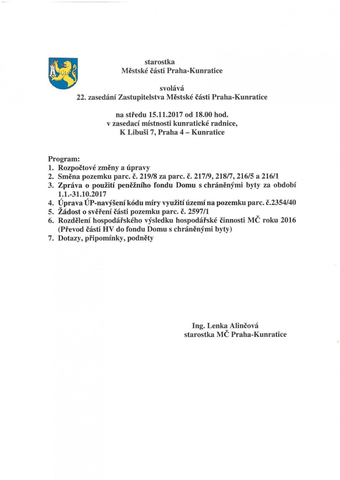 Program 22. zasedání ZMČ P-KU dne 15. 11. 2017