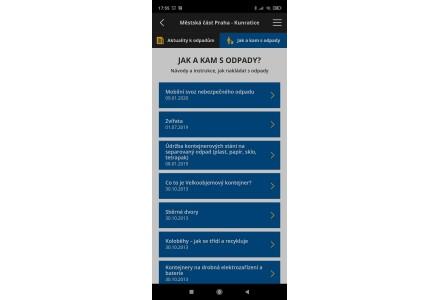 Jak nakládat s odpady - snímek mobilní aplikace
