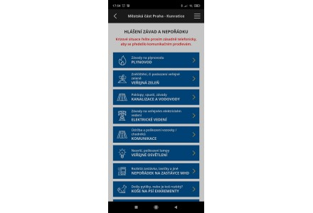 Hlášení závad na komunikaci - snímek mobilní aplikace