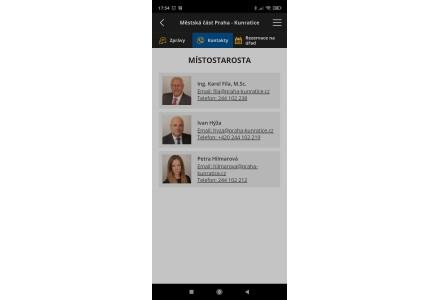 Kontakty - snímek mobilní aplikace