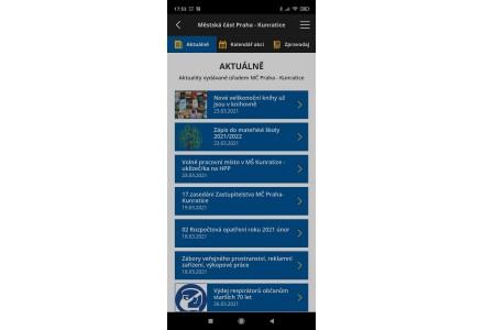 Aktuálně - snímek mobilní aplikace