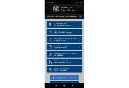 Hlavní menu - snímek mobilní aplikace