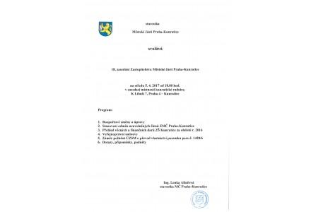 18. zasedání Zastupitelstva Městské části Praha - Kunratice 5.4.2017 od 18 hod