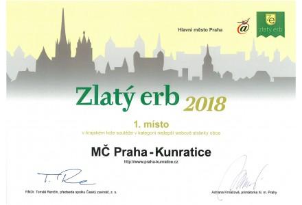 MČ Praha - Kunratice obhájila 1. místo v krajském kole soutěže Zlatý erb 2018 v kategorii nejlepší webové stránky obce